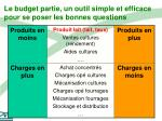 le budget partie un outil simple et efficace pour se poser les bonnes questions