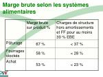 marge brute selon les syst mes alimentaires
