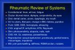 rheumatic review of systems