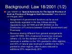 background law 18 2001 1 2
