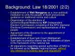 background law 18 2001 2 2