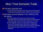 mou free domestic trade
