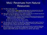 mou revenues from natural resources