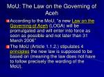 mou the law on the governing of aceh
