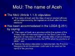 mou the name of aceh