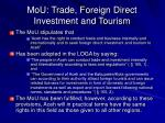 mou trade foreign direct investment and tourism