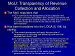 mou transparency of revenue collection and allocation