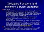 obligatory functions and minimum service standards