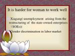 it is harder for woman to work well