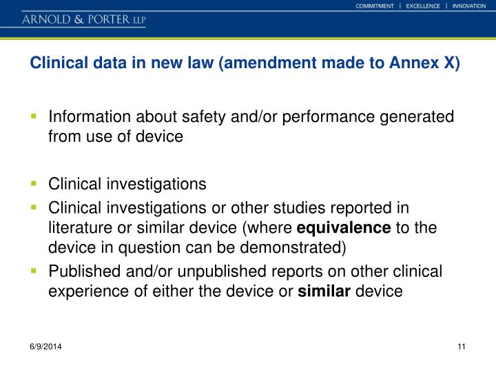 Clinical data in new law (amendment made to Annex X)