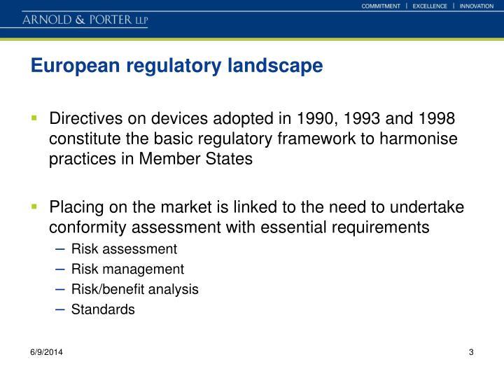 European regulatory landscape