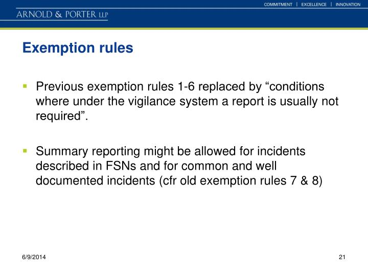 Exemption rules
