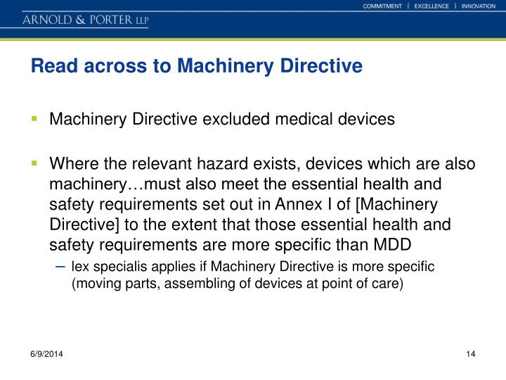 Read across to Machinery Directive