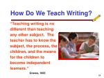how do we teach writing