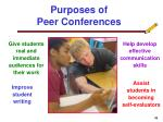 purposes of peer conferences