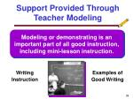 support provided through teacher modeling