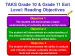 taks grade 10 grade 11 exit level reading objectives