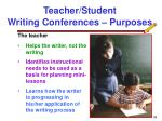 teacher student writing conferences purposes