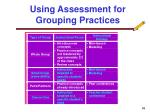 using assessment for grouping practices