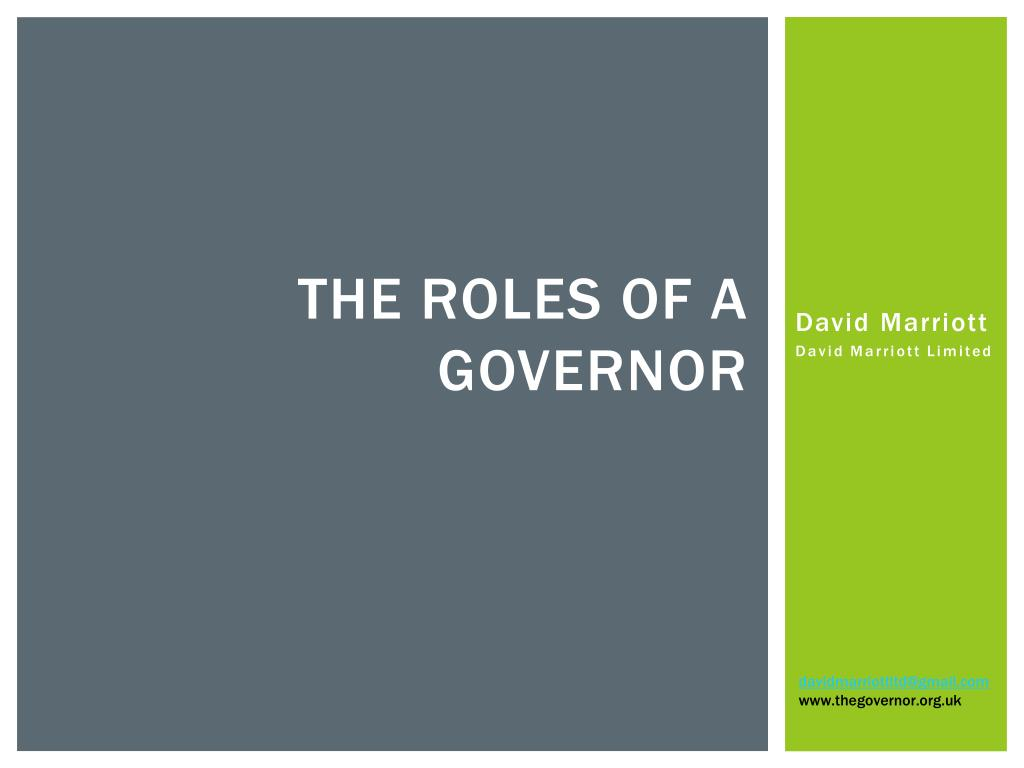 the roles of a governor l.