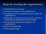 steps in creating the organization