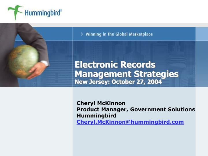 electronic records management strategies new jersey october 27 2004 n.