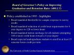 board of governor s policy on improving graduation and retention rates 400 1 5