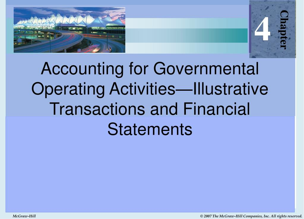 accounting for governmental operating activities illustrative transactions and financial statements l.