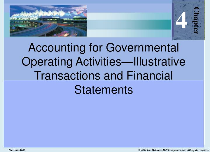 accounting for governmental operating activities illustrative transactions and financial statements n.