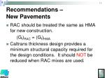 recommendations new pavements
