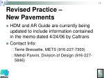 revised practice new pavements