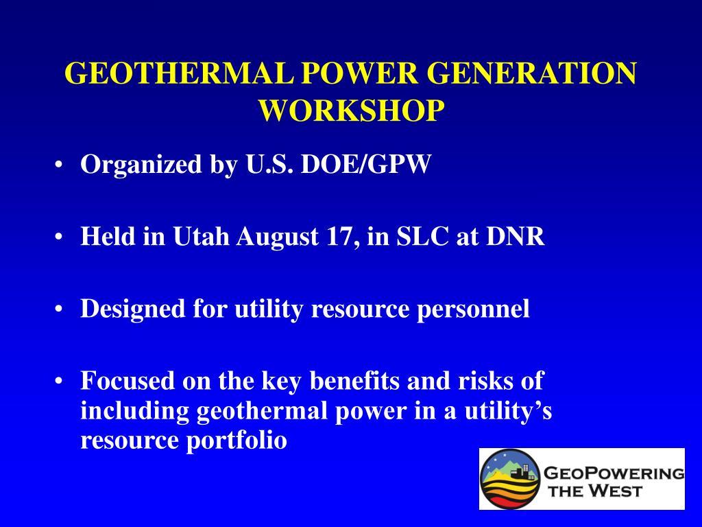 geothermal power generation workshop l.