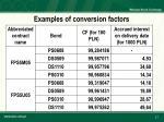 examples of conversion factors
