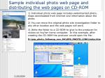 sample individual photo web page and distributing the web pages on cd rom