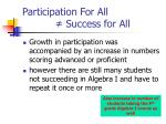 participation for all success for all
