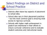 select findings on district and school practice