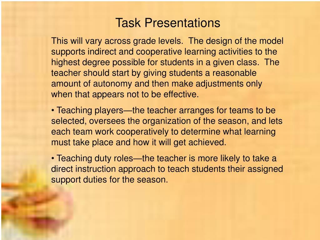 Task Presentations