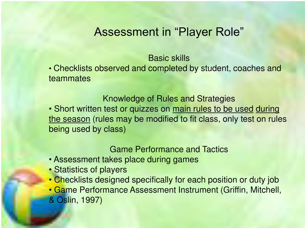 """Assessment in """"Player Role"""""""
