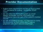 provider documentation