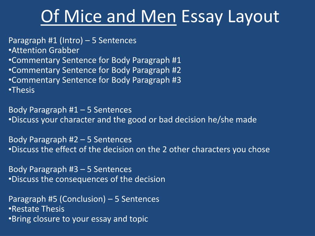 Ppt  Of Mice And Men Essay Layout Powerpoint Presentation  Id Of Mice And Men Essay Layout L
