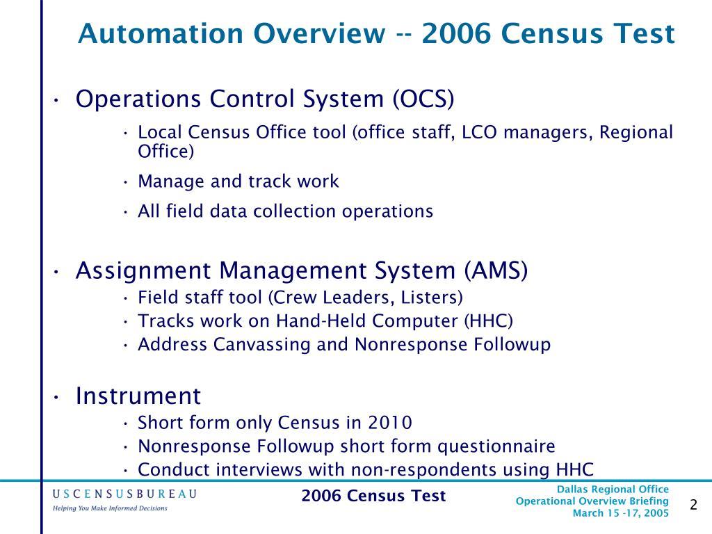 automation overview 2006 census test l.