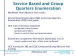service based and group quarters enumeration