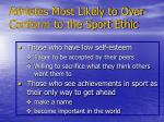 athletes most likely to over conform to the sport ethic