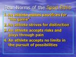 four norms of the sport ethic