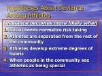 hypotheses about deviance among athletes