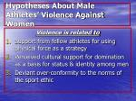hypotheses about male athletes violence against women