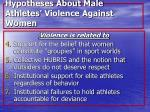 hypotheses about male athletes violence against women66
