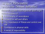 is sport participation a cure for deviant behavior