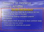 research on deviance among athletes