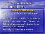 research on deviance among athletes39